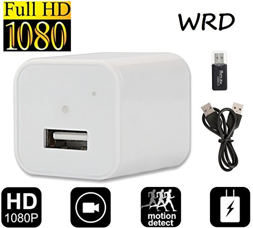 White Hidden Spy Camera 1080P HD USB Wall Charger Spy Camera Adapter Loop Recording Motion Detection 32gb Support (Video Grabadora)