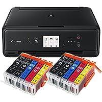 Canon Pixma TS5050 TS-5050 Farbtintenstrahl-Multifunktionsgerät (Drucker, Scanner, Kopierer, USB, WLAN, Apple AirPrint) schwarz + Set IC-Office XL Tintenpatronen 570XL 571XL (Mit 10 XL Patronen)