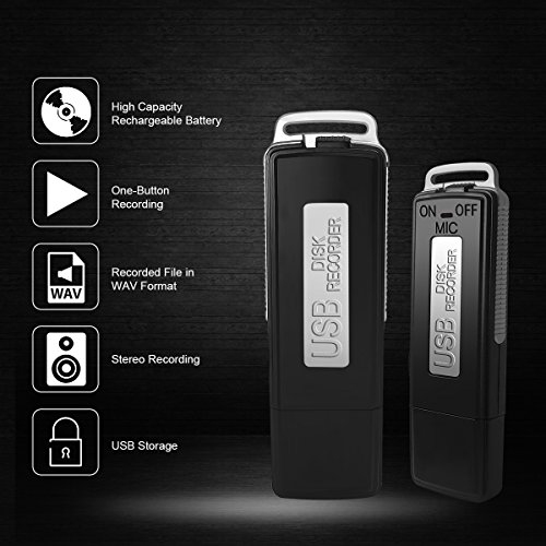 Portable Recorder, Digital Voice Recorder, Dictaphone, FlatLED Digital Audio Voice Recorder USB Pen Drive 150 Hours (16GB)
