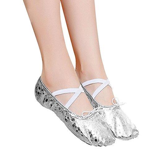 WELOVE Ballett Slipper Schuhe Pointe Canvas Split Sohle Praxis Ballett Tanzen Gymnastik Schuhe Ballett Flache Slipper Yoga Schuhe Silber