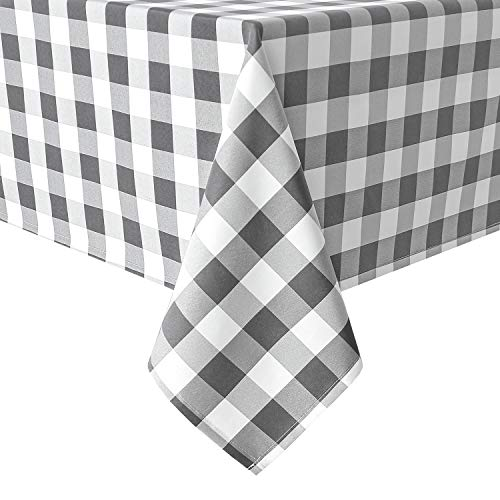 Homedocr Checkered Tablecloth Rectangle - Stain Resistant, Waterproof and Washable Table Cloth Gingham for Outdoor Picnic, Holiday Dinner, 60 x 120 Inch, Grey and White
