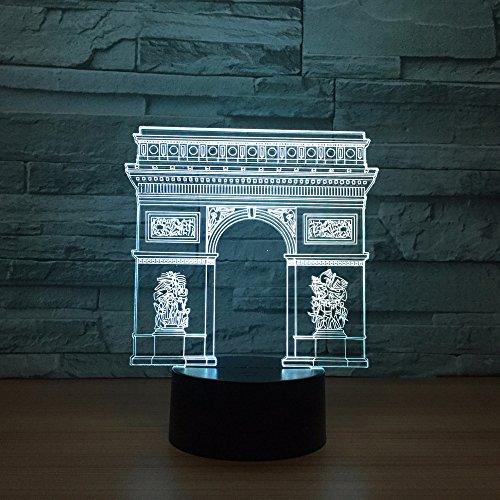 France Arc De Triomphe Gate Building Led 3D Night Light Led Nightlight Rgb Lamp Sleeping Lighting Child Kids Toy Gifts