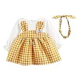 Baby Girls Dress for 0-24Months Kids, Iuhan Casual 2PCS Toddler Cute Rabbit Blouse Baby Girls Plaid Long Sleeve Princess Dress+Headband Set Outfits (0-6Months, Yellow)