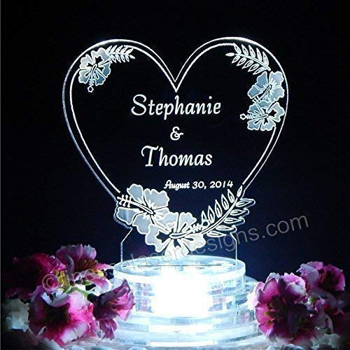 Hibiscus Heart Lighted LED Wedding Cake Topper Acrylic Cake Top Beach - Beach Wedding Acrylic