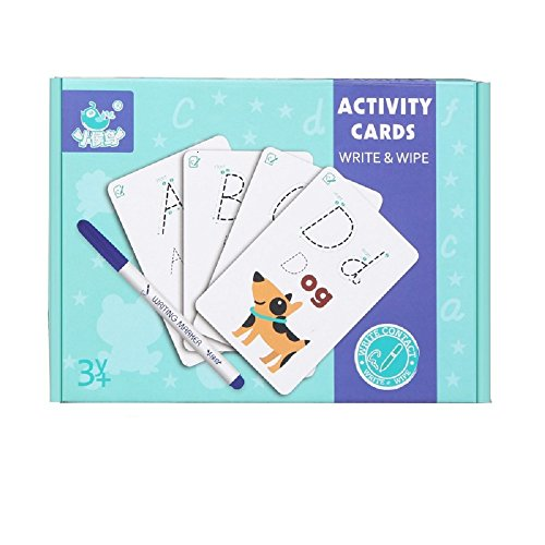 Elloapic Write & Wipe Practice Cards, Exercise book,Pencil, eraser, can repeate writing (Alphabet ABC Letter) -
