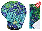 Van Gogh Irises Ergonomic Design Mouse Pad with Wrist Support. Gel Hand Rest. Matching Microfiber Cleaning Cloth for Glasses, Cars & Electronics. Mouse Pad for Laptop, PC Computer and Mac.