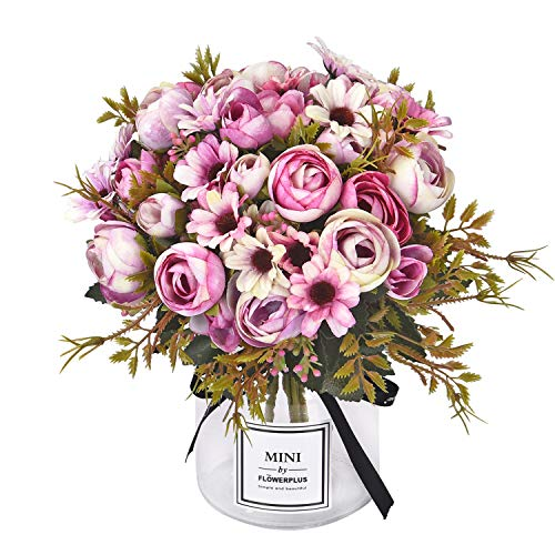Sunm boutique Artificial Rose Daisy Flower Bouquet, Silky Rose Bouquets with Daisy and Leaves Floral Bouquets for Wedding Arrangements Table Centerpieces Garden Party Home Decor