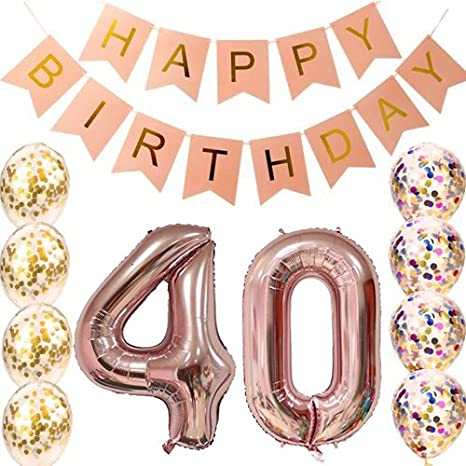 40th Birthday Decorations Party supplies-40th Birthday Balloons Rose Gold,40th Birthday Banner,Table Confetti Decorations,40th Birthday for Women,use ...