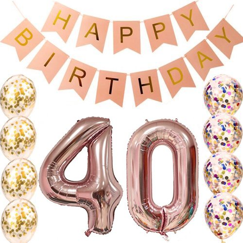 40th Birthday decorations Party supplies-40th Birthday Balloons Rose Gold,40th birthday banner,Table Confetti decorations,40th birthday for women,use them as Props for Photos (Rose Gold (40th Birthday Party Decor)