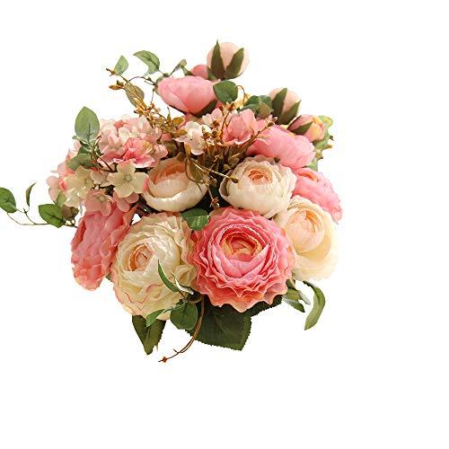 Lemax Fake Flowers Bridal Wedding Bouquet Artificial Ranunculus Rose Flowers Arrangement Home Wedding Decoration (Champagne)