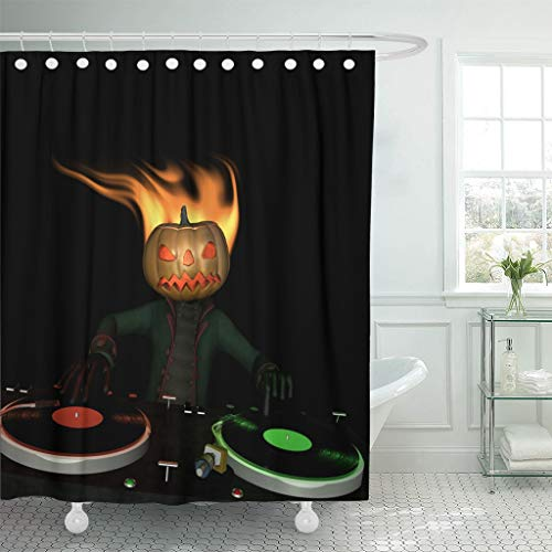Emvency Fabric Shower Curtain Curtains with Hooks Flaming Pumpkin Head is in The House and Mixing Up Some Halloween Horror Turntables with Vinyl Albums 72