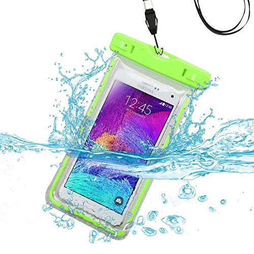 Insten Universal Apple Green Lightning Waterproof Bag Case Phone Holder with Lanyard Compatible with iPhone 8 7 6S Plus Samsung Galaxy S9 S8 S7 S6 On5 J7 J3 J1 ZTE Maven ZMAX LG Stylo 3 2