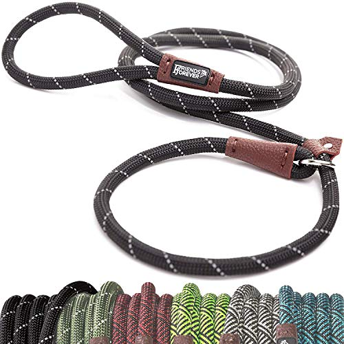 emely Durable Dog Rope Leash, Premium Quality Mountain Climbing Rope Lead, Strong, Sturdy Comfortable Leash Supports The Strongest Pulling Large Medium Dogs 6 feet, Black ()