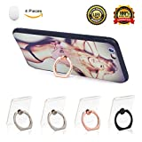Cell Phone Ring Holder 360 Degree Rotation and 180 °Flip Transparent Finger Ring Stand Holder Kickstand for iPhone,Samsung Galaxy, Smartphones and Tablet Phone Case Set of 4 with Car Phone Hook