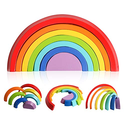 kizh Wooden Rainbow Stacking Game Geometry Building Blocks Nesting Matching Jigsaw Early Educational Learning Toys Set Board Puzzle for Kids Baby Toddlers Children