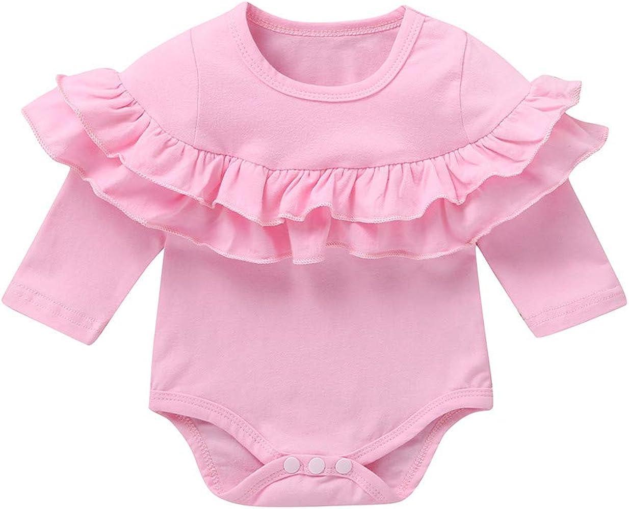 MAYOGO Niña Camiseta Manga Larga Volantes Color sólido Invierno Mameluco para Recién Nacido Bebé Niñas 0 a 3 Meses Traje de bebé Niña Pelele de Fiesta Ropa Bebé Dulces Hija 0-2 Años: