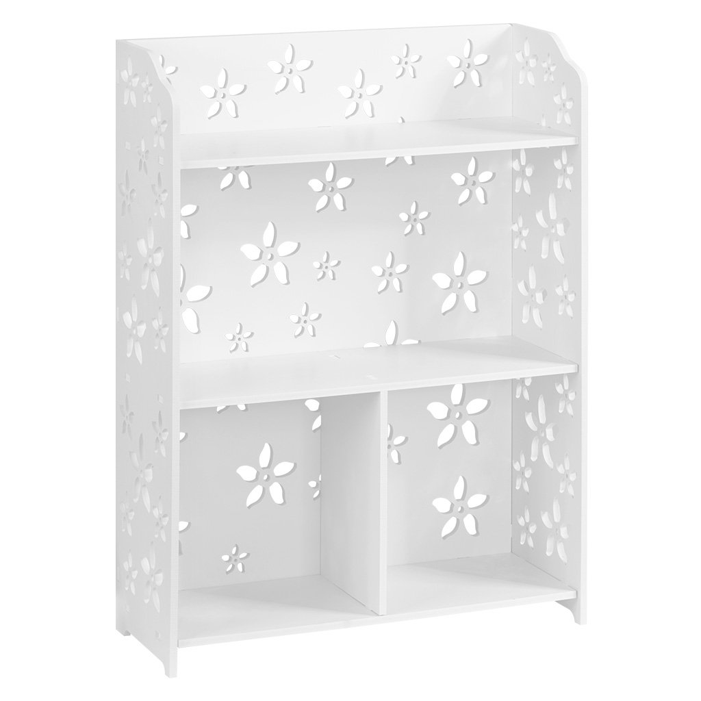 Finether 3-Shelf Shelving Unit, Modular Sakura White Wooden Plastic Composite 3 Tier Shelving Unit Storage Shelf Bookcase Display Shelf with 4 Compartments for Bedroom Living Room Kitchen Office