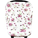"""Baby Car Seat Cover Canopy and Nursing Cover Multi-Use Stretchy 5 in 1 Gift """"Violet"""" by Copper Pearl"""