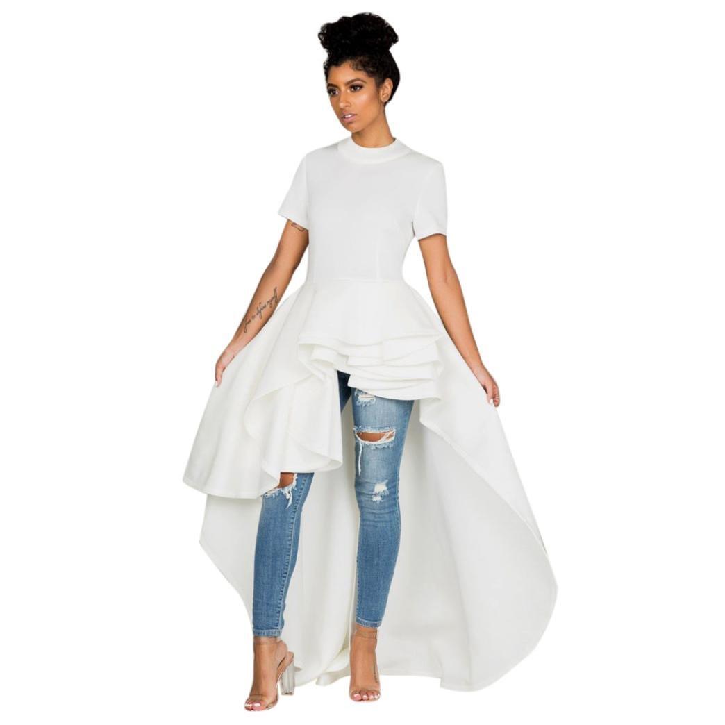 Funic Women's Short Sleeve High Low Peplum Dress Bodycon Casual Short-Sleeved Lotus Leaf Skirt Dress (S, White)
