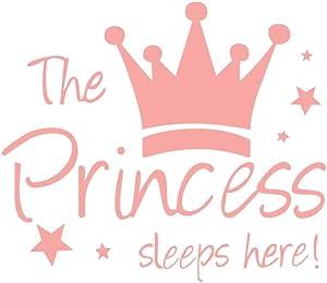 HACASO - The Princess Sleeps Here- Pink Wall Decal Girl's Bedroom Decor
