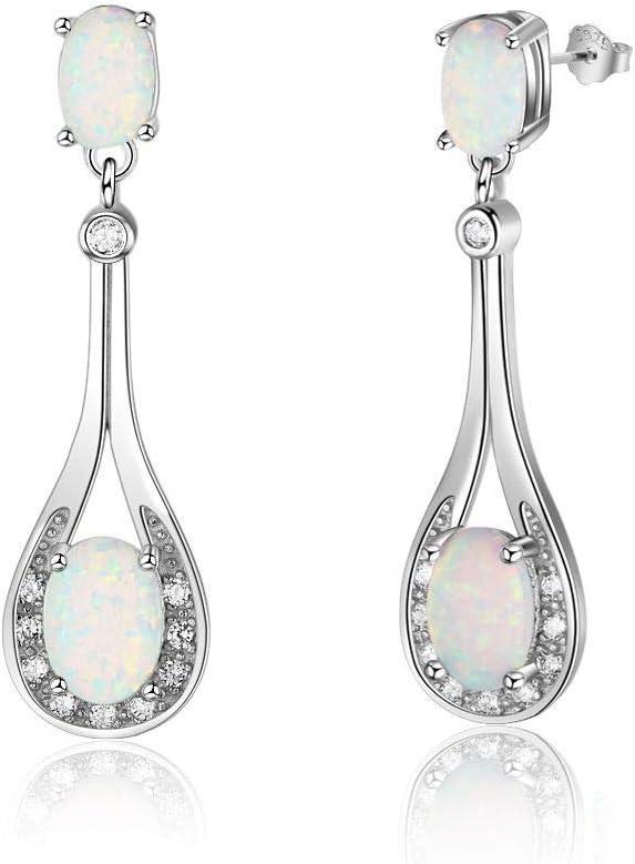 B&H-ERX Delicados Regalos para Amigos Comercio al por Mayor y al por Menor White Opal Fire Silver Estampado Pendientes de Gota Joyería de Moda al por Mayor