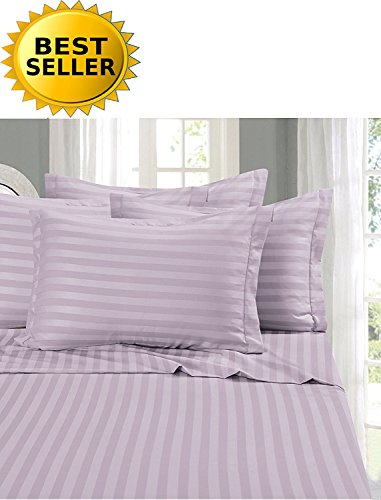 Elegant Comfort #1 Bed Sheet Set on Amazon - Super Silky Soft - 1500 Thread Count Egyptian Quality Luxurious Wrinkle, Fade, Stain Resistant 6-Piece STRIPE Bed Sheet Set, Queen Lilac