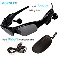 Sunglasses Earphone Wireless Handsfree Headphone Stereo Bluetooth 4.1 Headset With Microphone For Smart Device Mornlex(Black)