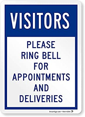 Home /& Colleagues Aluminum Sign Made in The USA COVID-19 Notice Sign Visitors Please Ring Bell for Appointments and Deliveries Municipality Protect Your Business