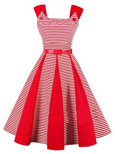 Bestfort Vintage Kleider Damen 50er Retro Mode Rundhals ...