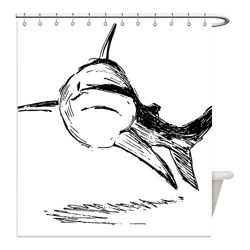 Shark Boy Costume At Walmart (Liguo88 Custom Waterproof Bathroom Shower Curtain Polyester Sea Animal Decor Doodle Image of Cat Shark Tropic Atlantic Saltwater Monster Primitive Black White Decorative bathroom)