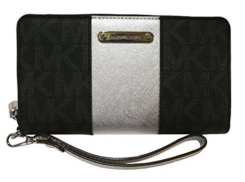 Michael Kors Women's PVC Metallic Center Stripe Large Coin Phone Case Black/Silver by Michael Kors