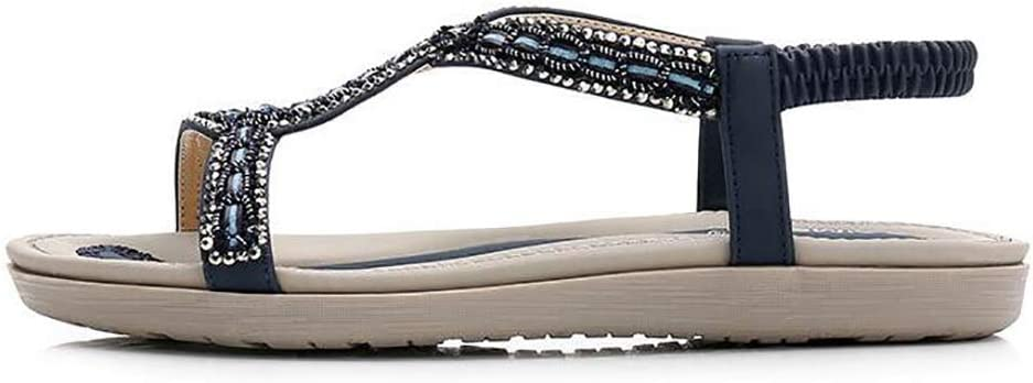 SHANGXIAN Womens Bohemia Sandal Slippers Comfortable and Breathable Soft Bottom Flats Shoes,Blue,36