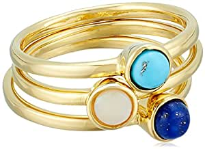 Set of 3 Gemstone, Turquoise, Lapis and Opal Gold Plated Mini Rings, Size 7
