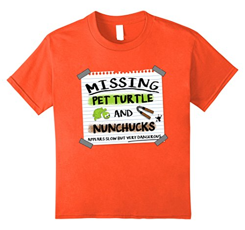 unisex-child Missing Pet Turtle and Nunchucks T-shirt 10 Orange (Funny But Cute Girl Halloween Costumes)