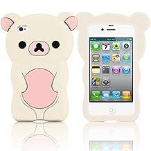EVIL EMPIRE® 3D Cute Teddy Rilakkuma Bear Silicone Case for Apple iPhone 4 4S 4G (White/Light Pink)