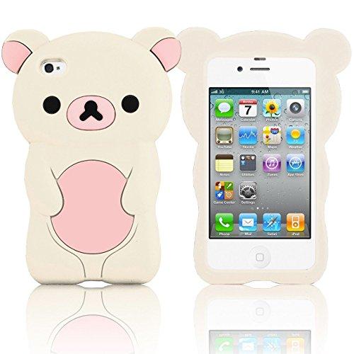 (EEA 3D Cute Teddy Rilakkuma Bear Silicone Case for iPhone 4 4S 4G (White / Light Pink))