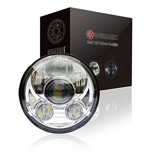 Wisamic 5-3/4'' 5.75'' LED Headlight - Compatible with Dyna Street Bob Super Wide Glide Low Rider Night Rod Train Softail Deuce Custom Sportster Iron 883-Silver by Wisamic (Image #6)