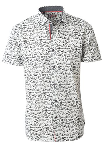 White Kalpana Short Sleeve Casual Button Down Men's Shirt Spazio ()