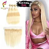 Fabeauty 613 Blonde Human Hair Bundles with Frontal Brazilian Straight with Frontal 100% Virgin Human Hair Weave with 13x4 Lace Frontal (18 20 22+16)