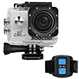 4k WIFI Sports Action Camera,SOOCOO Action Camera Waterproof 20MP 170 Degree Wide Angle Sports Video Camera 2 inch LCD Screen/2.4G Remote Control/32GB Micro SD Card/2 Batteries/19 Mounting Kits-Silver