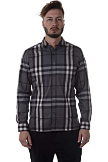 aef24f33c81 Burberry Mens Nelson Gray Plaid Check Long Sleeve 100% Cotton Button Front  Shirt