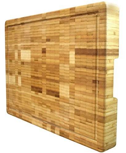 Large Grain End (Extra Large Organic Bamboo Cutting Board End Grain Butcher Block Thick Heavy & Solid (18
