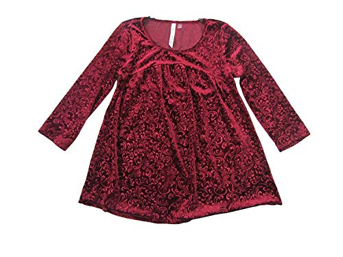 (NY Collection Women's Petite Velvet Embossed Swing Top (Dark Red, Petite X-Large))