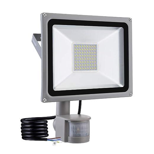 viugreum Foco con detector de movimiento, foco LED (50 W, IP65 impermeable Exterior
