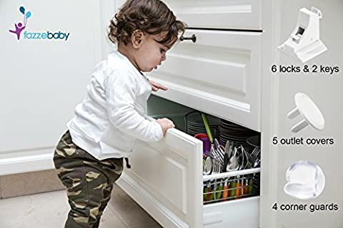 Baby Childproof Magnetic Cabinets Locks (6+2 Keys) + Table Corner Protectors (4) + Outlet Covers (5). Babyproof Safety Set With 3M Adhesive – Discreet , Drill Free No Tools or Screws - Deluxe Aluminum Trim