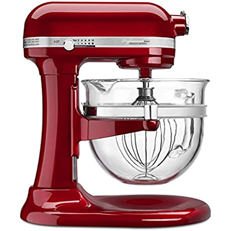 KitchenAid Professional 6500 Design Series Candy Apple Red Bowl Lift Stand Mixer With 6 Quart Glass Bowl
