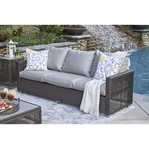 Handy Living Aldrich Outdoor Gray Open Weave Rattan Sofa with Sunbelievable Taupe Outdoor Fabric Cushions