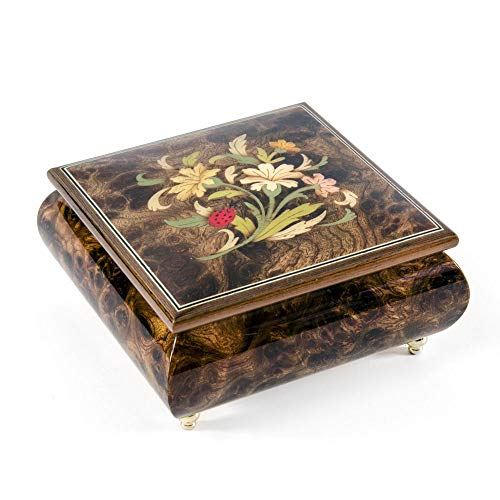 Floral Arrangement with Lady Bug Wood Inlay 18 Note Musical Jewelry Box - Over 400 Song Choices - Home on The Range (Wood Stove Elm)