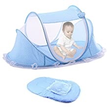 Foldable Mosquito Net for Baby Portable Net Babies Crib Cot Bed Tent Set Include Matress Cushion (Blue)