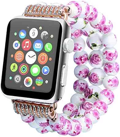 Juzzhou Watch Band For Apple Watch iWatch 38mm/42mm Series 1/2/3 All Model Ceramics Replacement With Metal Adapter